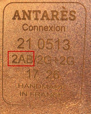 Antarès märkning storlek på kåpa.